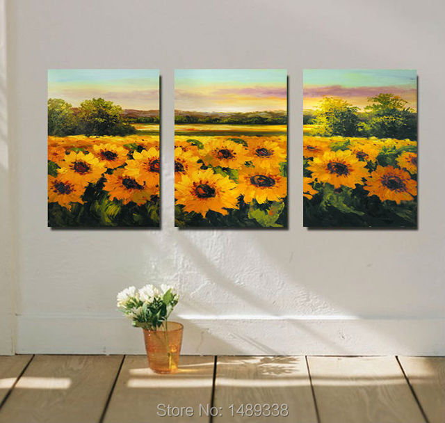 Free shipping Printing painting on Canvas Sunflowers Painting Modern ...