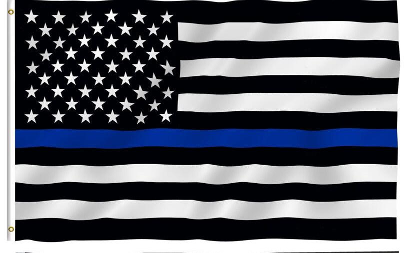 Free Shipping Blue Line Usa Police Flags 90 150cm Thin