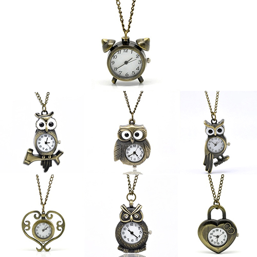 Vintage Antique Bronze Necklace Chain Owl Heart Clock Quartz Pocket Watch Gift