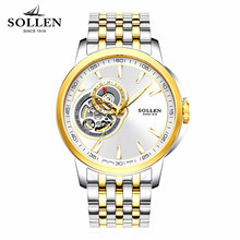 Mens Watches Top Brand Luxury SOLLEN Automatic Winding Tourbillon Mechanical Watch Sport Military Relogio Automatico Masculino