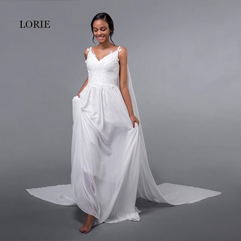 c96de7c963 LORIE Chiffon Wedding Dresses Spaghetti Strap Cheap Appliques Lace Sweep  Train White Caped Bridal Dress Beach Wedding Gown 2018 | Wedding Apparel