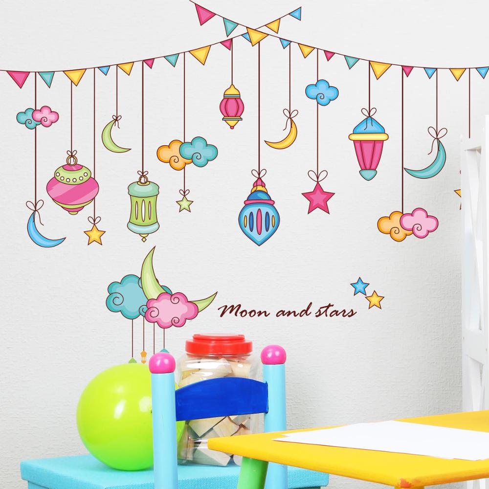 Cartoon Moon Star Sticker Baby Room Wall Stickers Children S Nursery Clroom Decoration Bedroom Bedside In From Home