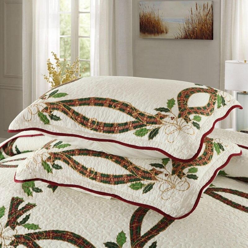 CHAUSUB Neue Weihnachten Bänder Quilt Set 3 STÜCKE Gewaschener Baumwolle Quilts gesteppte Bettdecke Bettdecke Kissenbezug König Größe Bettdecke Satz - 4