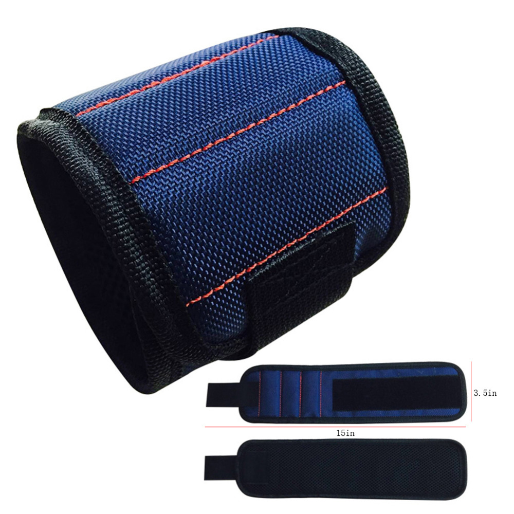 DIY Polyester Magnetic Wristband Portable Tool Bag Electrician Wrist Tool Belt Screws Nails Drill Bits Holder Repair Tools
