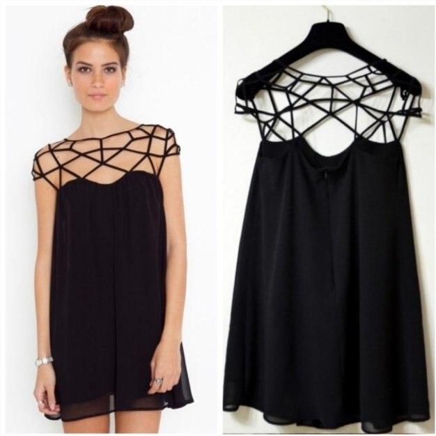 Платье шифоновое черное фото