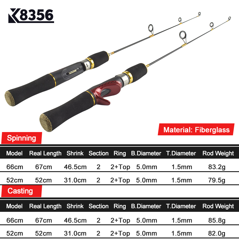 K8356 FRP Winter Ice Fishing Rod 2 Section Casting/Spinning Fishing Pole Ultralight Stitching Tackle Fish Accessories 52CM 66CM