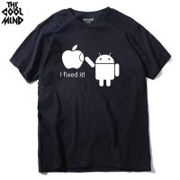 2017 100 Cotton Men T Shirts Android Robot Male T Shirt Apple Humor Logo Printed Funny