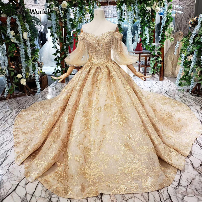HTL401 Golden Lace Wedding Dress With Train Puffy Half Sleeves Tassel Princess Bridal Dresses For Girl Vestidos De Novia 2019