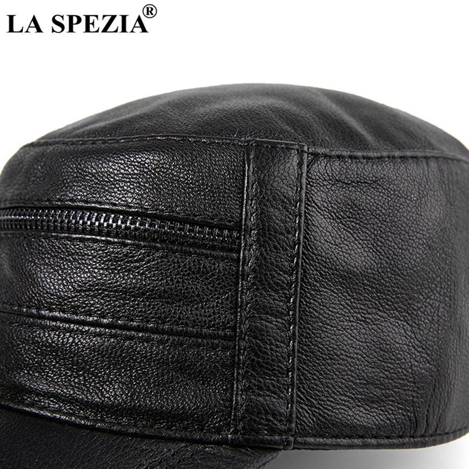 LA SPEZIA Army Cap Military Men Brown Leather Captain Hat Adjustable Zipper Classic Sailor Cap Male Autumn Winter Fisherman Caps in Men 39 s Military Hats from Apparel Accessories