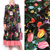 2017 Hot Europe And The United States Big Catwalk Print Dress Skirt Fabric DIY Satin Flower
