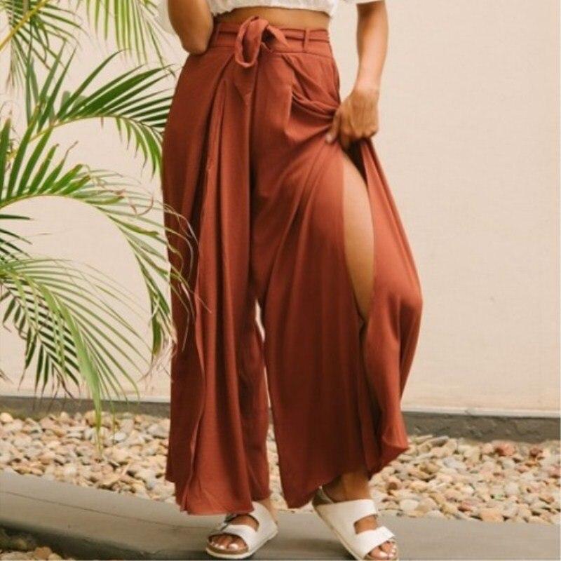 High split solid wide leg pants women Summer beach high waist trousers Chic streetwear sash casual pants capris female
