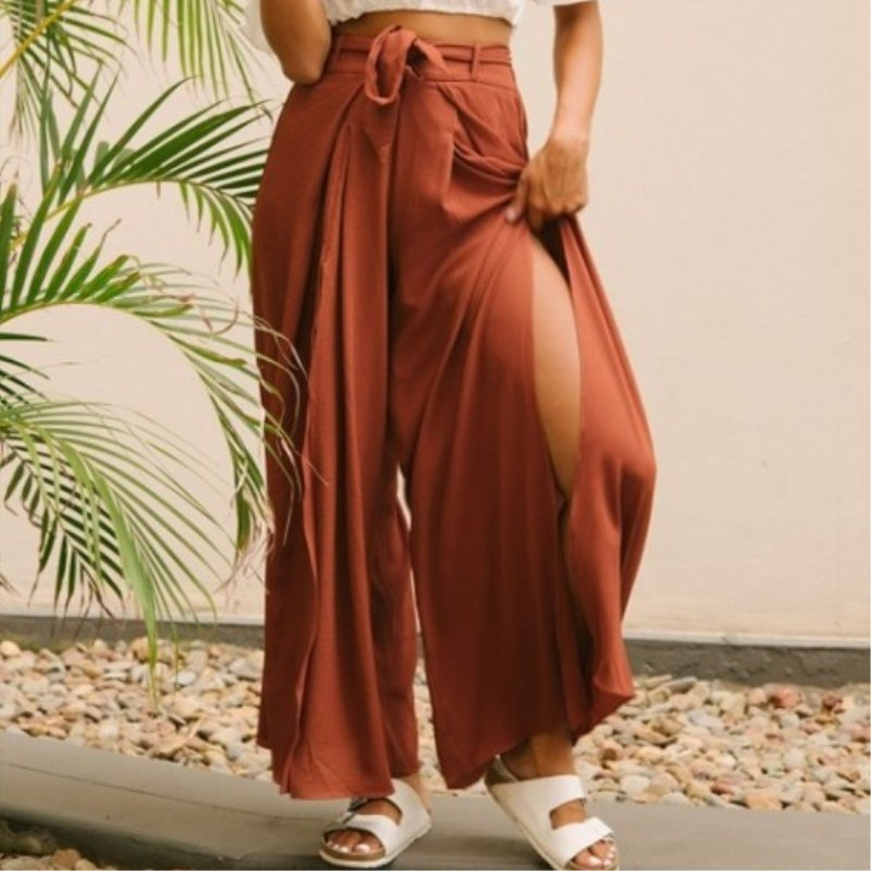 High split solid wide leg pants women Summer beach high waist trousers Chic streetwear sash casual pants capris female