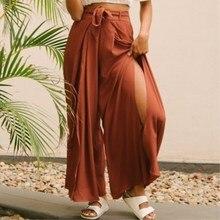High split solid wide leg pants women Summer beach high waist trousers Chic streetwear sash casual capris female