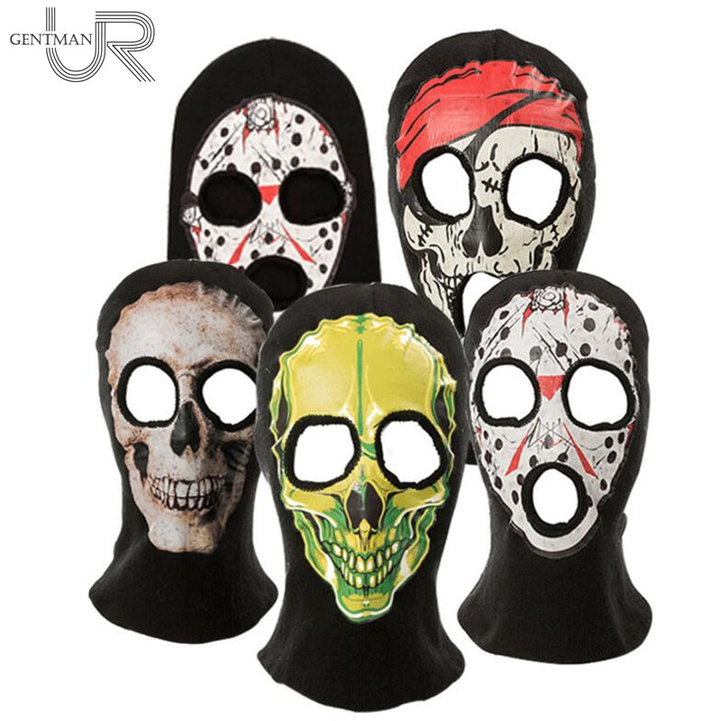 New High Quality Balaclava Autumn And Winter Hat For Women And Men Halloween Horror Skull Hooded Hat Spoof Cosplay Mask plastic standing human skeleton life size for horror hunted house halloween decoration