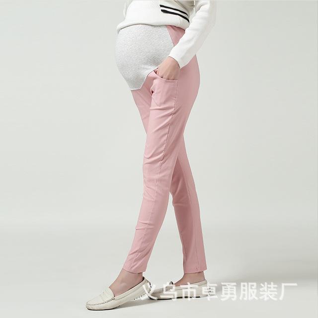 2016 Nueva Moda de Maternidad Gravida Algodón Largo Lápiz Pantalones Vientre Cuidados Leggings Ropa Para Embarazadas Ropa de Mujer 8 Colores