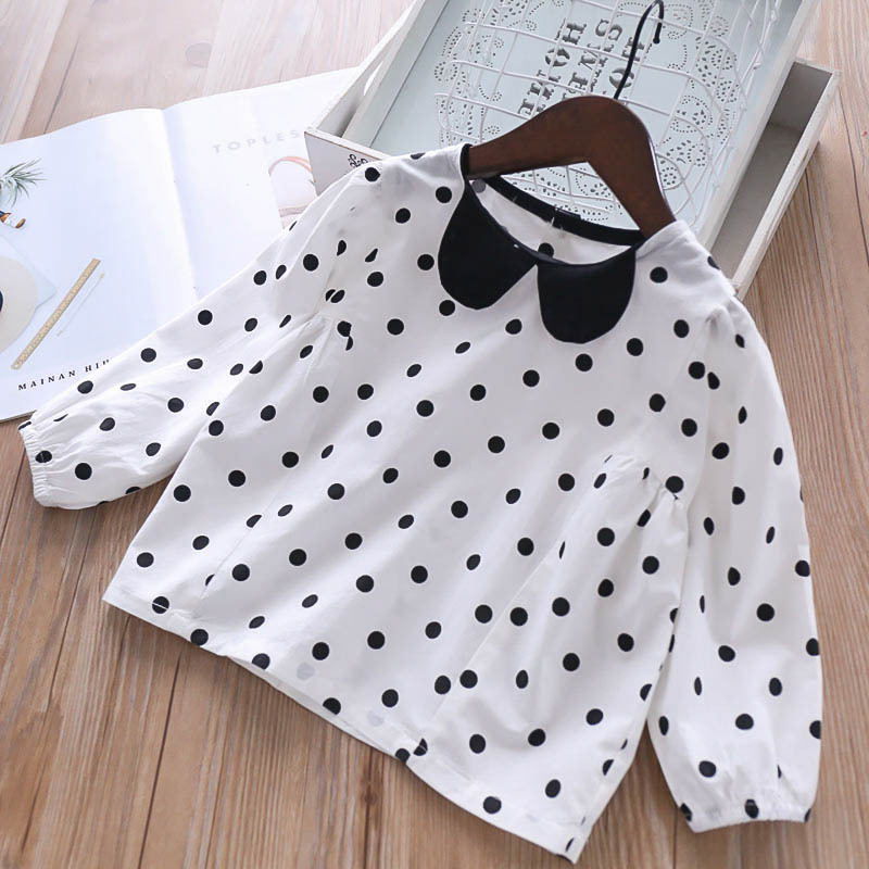 2019 Wholesale Girls Dots Blouse Full Sleeve Spring Baby Girls Shirts 2-6 years