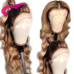 Image 2 - KRN #4/27 Ombre Brazilian 13x6 Lace Frontal Human Hair Wigs WithBabyHair Body Wave remy Pre Plucked Lace Front Wig For Women 180