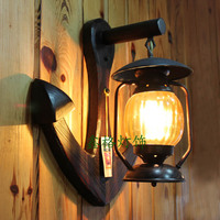 Personalized vintage antique wood wall lamp lantern american bar lights