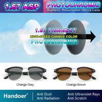 Handoer 1.67 Photochromic Single Vision Optical Prescription Lenses Fast Color Change Light-Sensitive Vision Correction Lens