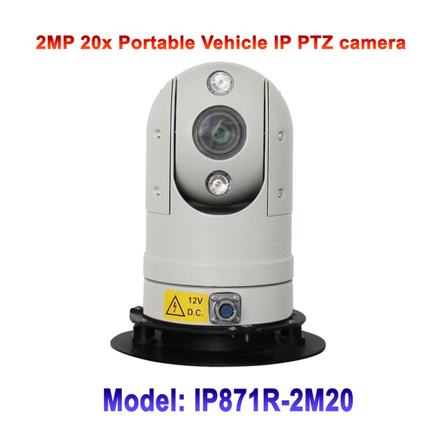 2MP High Speed 20x Optic Zoom Infrared IR 50M Mini Portable Smart Vehicle Mounted Security IP PTZ Camera For Public Bus Project