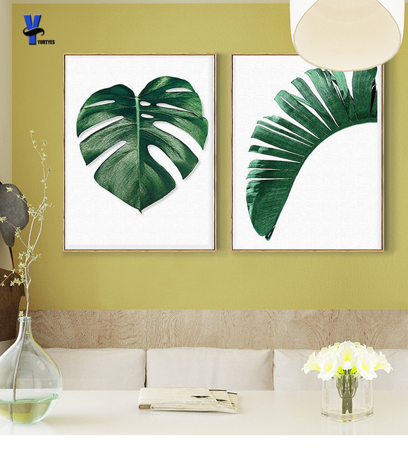 Nordic Green Plant Leafs Wall canvas painting posters prints wall ...