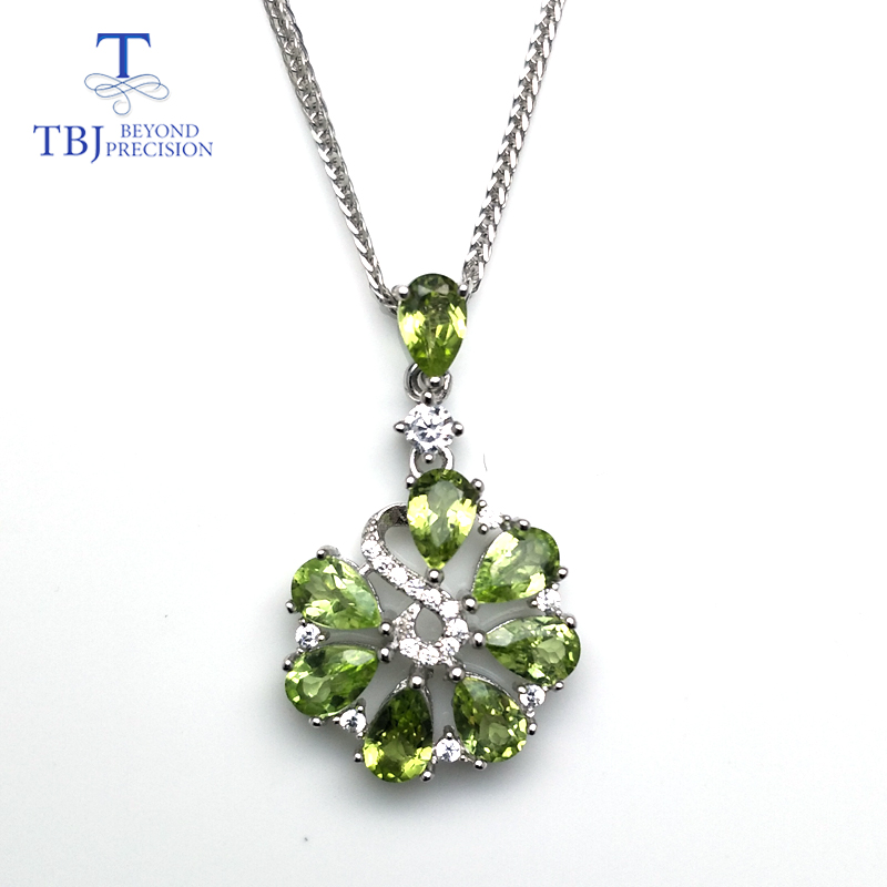 TBJ Sweet flower pendant with natural green peridot gemstone necklace in 925 sterling silver romantic jewelry