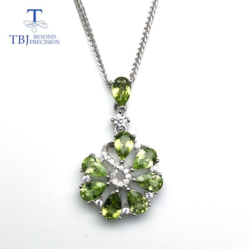 TBJ, pendentif fleur douce avec péridot vert naturel collier de pierres précieuses en 925 argent sterling bijoux romantique cadeau pour les femmes