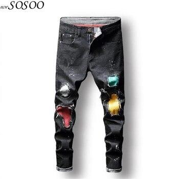 Джинсы мужские черные 100% хлопковые рваные джинсы afligido высококачественные брюки классные мужские джинсы модные брюки # JD8815