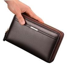 Luxury Wallets Handy Bags Male Leather Purse Men's Clutch Black Brown Business Carteras Mujer Wallets Men