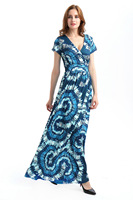 NOWY Czerwony ltz sukienka Dziewczyna Plus Rozmiar Sukienki waMaxi Boho Style kobiety Plaża Długa Sukienka Z Krótkim Rękawem Floral Print Vintage Szyfonu Robe