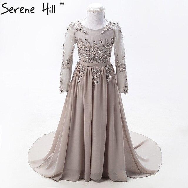 Grey Long Sleeves Sexy Children Flower Girl Dresses Diamond Sequined First  Communion dresses for girls 2019 Serene Hill HTA0004 01abb0158129