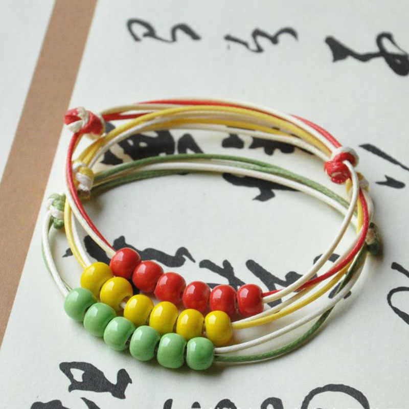 Double Chain Colorful Ceramic Beads Strand Bracelets Women Men Weave Rope Bangles Adjustable Wristbands Jewelry Accessories