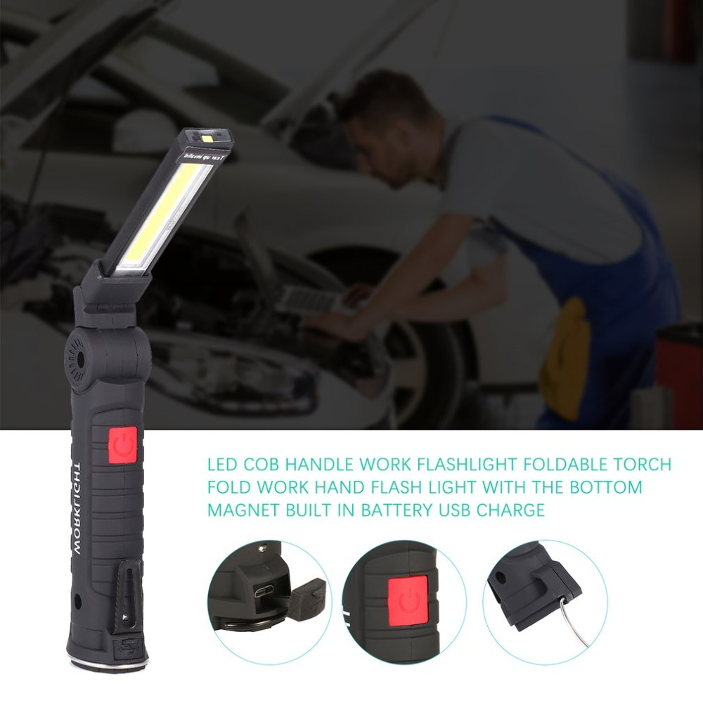 Folding COB LED Work Light Portable Spotlight With Magnetic Base Clip USB Charging Repair Torch Movable Work Light Flashlight