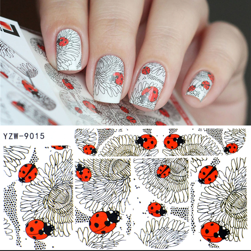 YZWLE 1 Sheet Fashion Water Transfer 3D Grey Cute Ladybug Pattern Nails Stickers Full Wraps Manicure Decal DIY Nail Art Sticker 1 sheet beautiful nail water transfer stickers flower art decal decoration manicure tip design diy nail art accessories xf1408