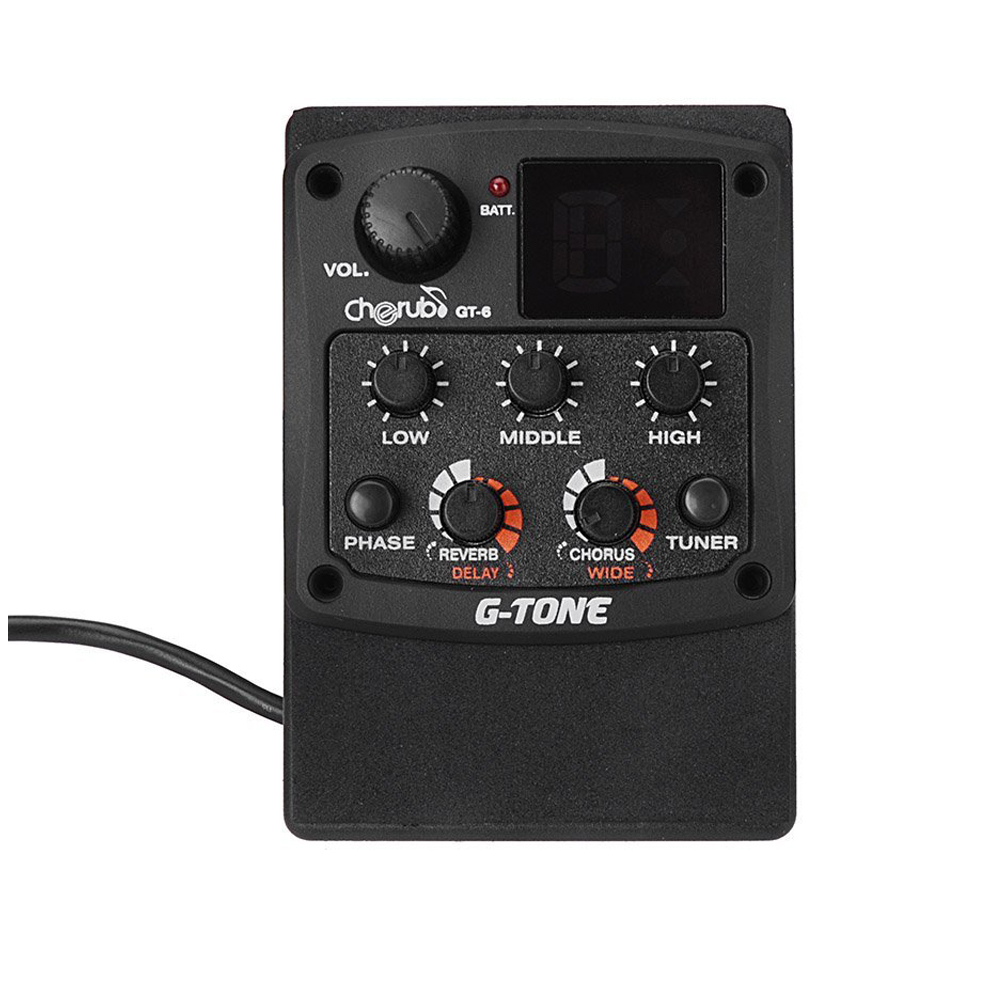 Cherub G-Tone GT-6 Acoustic Guitar Preamp Piezo Pickup 3-Band EQ Equalizer LCD Tuner with Reverb/Chorus Effects joyo eq 307 folk guitarra 5 band eq acoutsic guitar equalizer high sensibility presence adjustable with phase effect and tuner