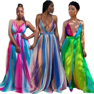 2019 women new summer sleeveless back open v-neck colorful stripes high waist sexy beach floor length fuel lines party dress