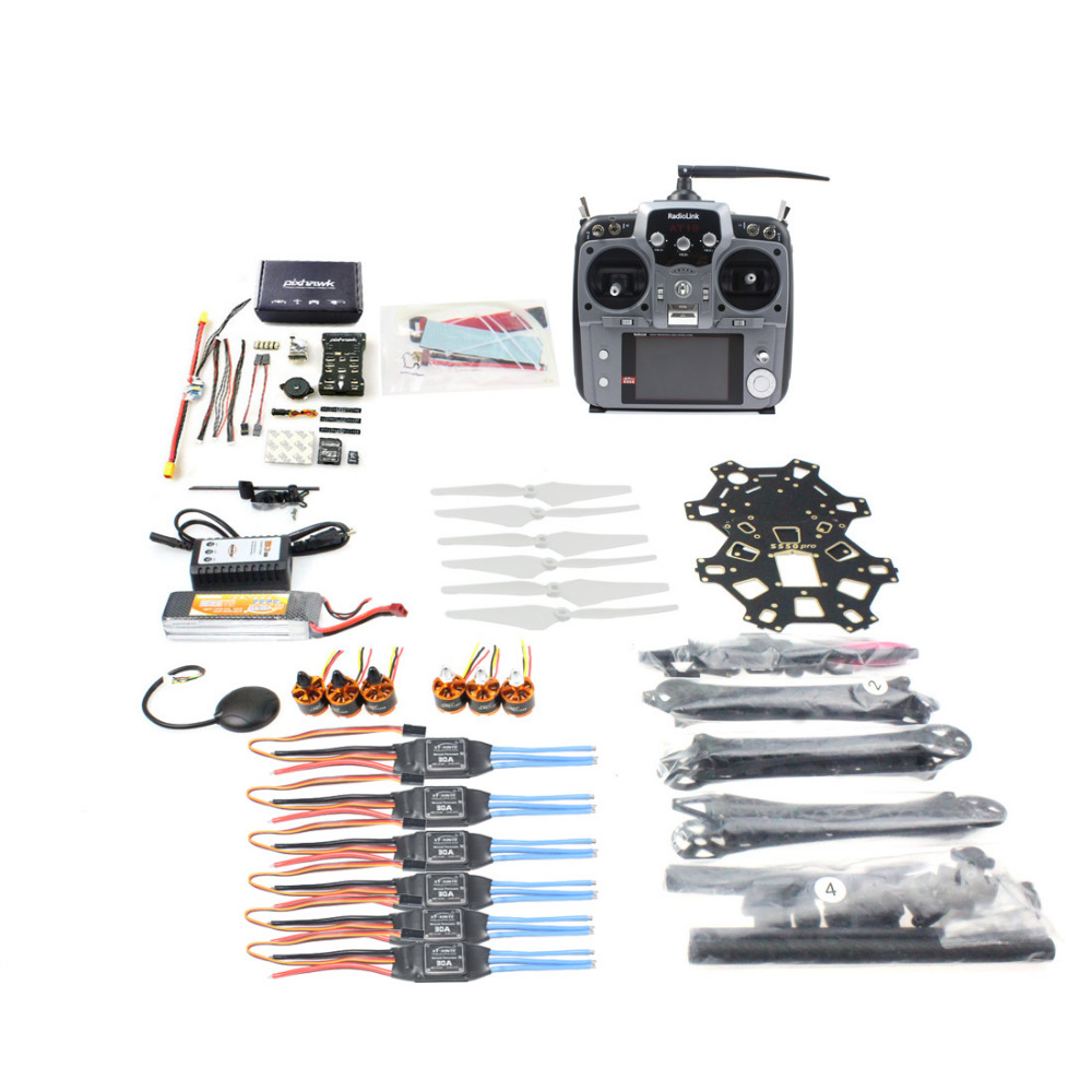 купить JMT DIY FPV Drone Hexacopter 6-axle Aircraft Kit HMF S550 Frame PXI PX4 Flight Control 920KV Motor GPS AT10 Transmitter недорого