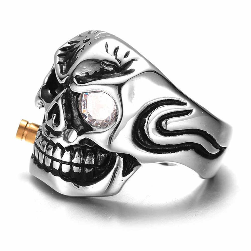 Qevila yeni moda Punk otoriter dumanı kafatası kafa parmak yüzük erkekler için Knuckle gotik takı gümüş renk Biker yüzükler erkek