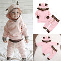 Newborn Toddler Clothes Baby Boys Girls Hoodie Cotton T-shirt Top+Pants 2pcs Outfits Set