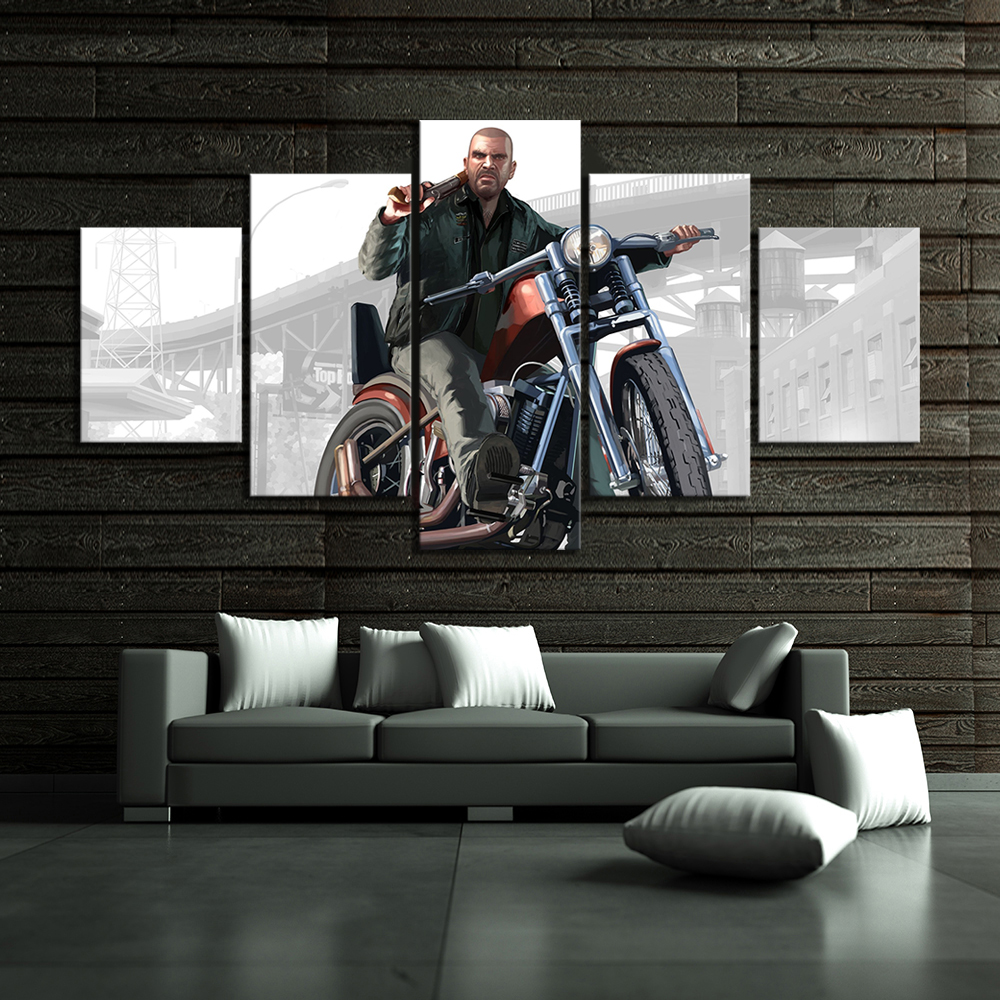 5 Piece HD Cartoon Pictures Grand Theft Auto Game Poster Art Canvas Paintings for Wall Decor