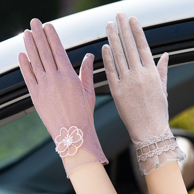 Sexy Summer Women UV Sunscreen Short Sun Female Gloves Fashion Ice Silk Lace Driving Of Thin Touch Screen Lady Gloves 03k