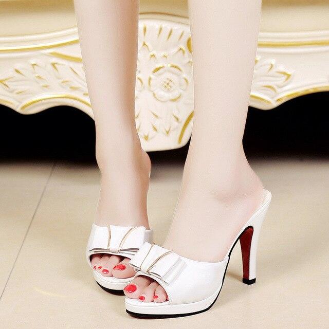Summer Women Slipper Platform High Heel Slipper Butterfly Knot Thin Heel  Slides Shoes Woman Black Beige c87134fc5349