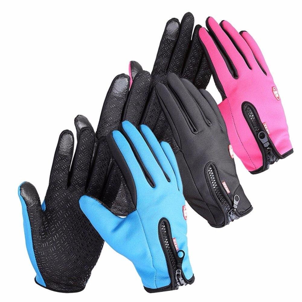 Womens leather ski gloves - Men Women Ski Gloves Sports Waterproof Screen Head Winter Snowboard Motorcycle Snow Cycling Kids Skiing Driving