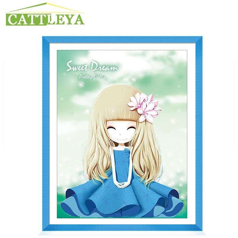 CATTLEYA,5D Diamond painting, blue dress gril,Decoration,DIY Diamond Painting, Resin ,Round Drill Diamond Embroidery, Needlework