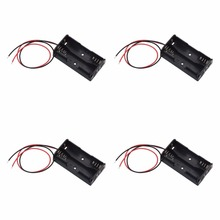 20pcs/lot MasterFire High Quality  Battery Storage Case Cover Plastic for 2 x 1.5V AA Box Holder Black With Wire Leads цены