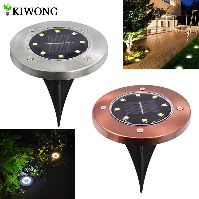 Solar Powered Ground Lights 8 leds Buried Security Lighting Outdoor Garden Waterproof Lamp For Yard Deck Floor Decoration