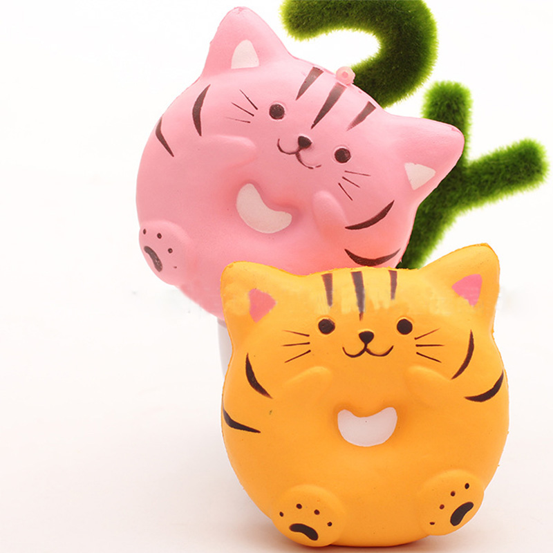 9.5cm Cute Smiling Face Cat Cartoon Squishy Slow Rising Toys Soft Squeeze Animal Bread Squishies Scented Funny Toys For Kids Toys & Hobbies Novelty & Gag Toys