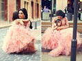 2016 Flower girl dresses Tulle Lace Long Tutu Mermaid Fashion Family Pink  Mother Daughter Dresses
