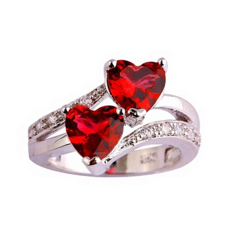 Charming Jewelry Imitation Zircon Double Love Heart Ring Color Silver Plated Drop Shipping