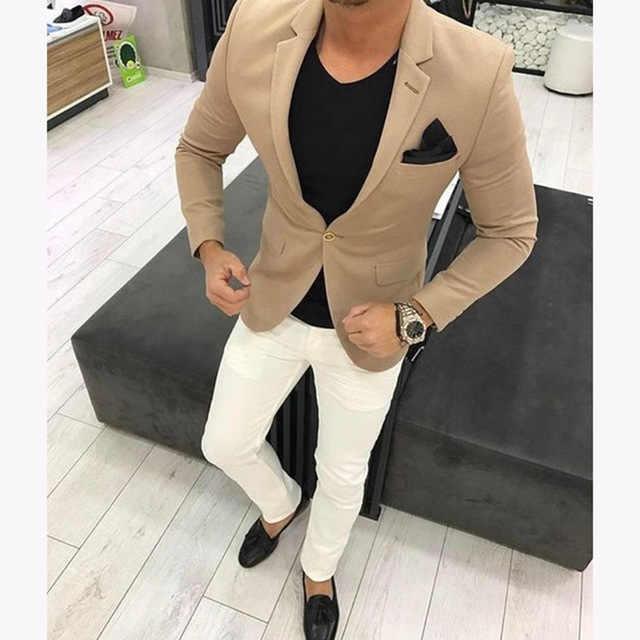 2020 最新のブラウン男性の結婚式のスーツカーキメンズスーツカジュアルブレザースキニータキシードカスタム 2 ピース kingsman ジャケット Terno Masculino